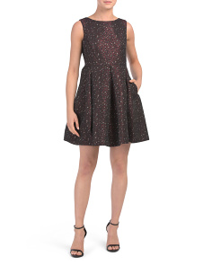 Petite Fit & Flare Glitter Dress
