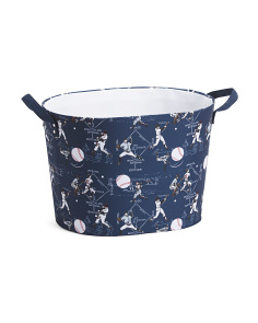 Baseball Oval Basket With Liner And Canvas Handles
