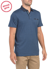 Short Sleeve Micro Stripe Polo With Contrast Collar