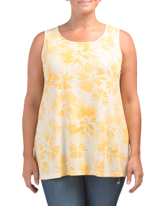 Plus Tropical Floral Print Tank