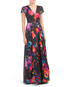 Made In Usa Rosette Print Delphina Gown