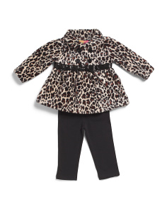 Infant Girls 2pc Leopard Printed Plush Jacket Set