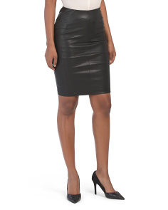 Petite Leather Pencil Skirt