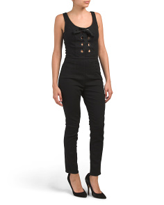 Made In Usa Lace Up Denim Jumpsuit