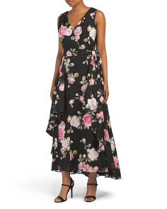 Floral Faux Wrap Maxi Dress