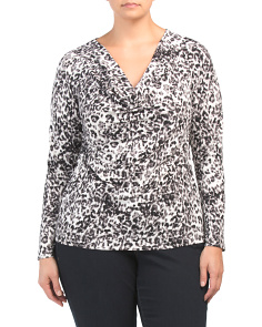 Plus Animal Print Long Sleeve Axel Top