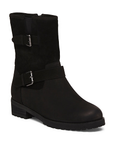 Waterproof Leather Buckle Boots