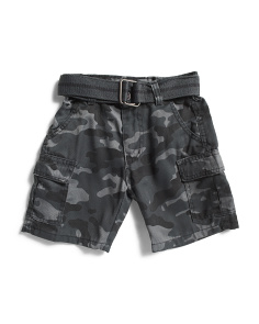 Little Boys Belted Twill Camo Cargo Shorts