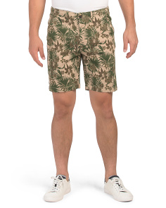 Printed Stretch Twill Chino Shorts