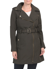 Asymmetrical Belted Water Resistant Coat