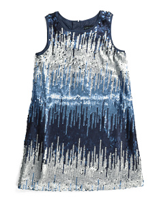 Girls All Over Ombre Sequin Shift Dress