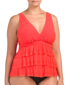 Plus Triple Tier Mesh Tankini Top