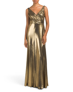 V-neck Metallic Shimmer Gown
