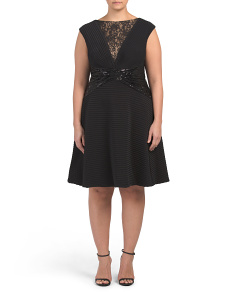 Plus Pintuck Embellished Dress