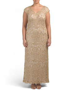Plus Metallic Corded V-neck Gown