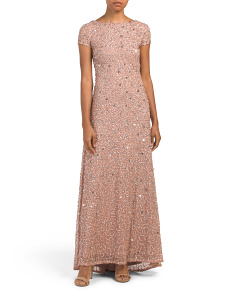Petite All Over Beaded Cap Sleeve Gown