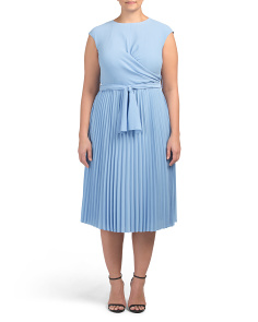 Plus Cap Sleeve Dress With Pleat Detail