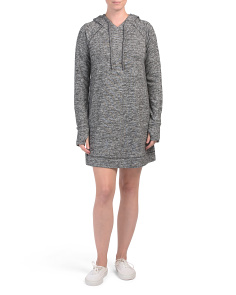 Hooded Knit Dress With Drawstring