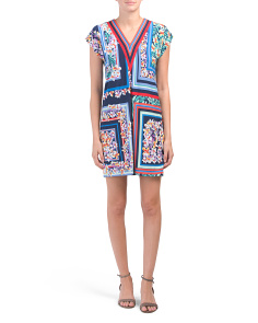 Petite Scarf Print V-neck Shift Dress