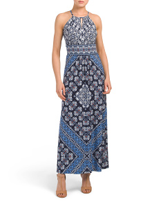 Petite Woodblock Bandana Maxi Dress
