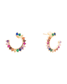 Made In Turkey Sterling Silver Rainbow Cz Crescent Earrings