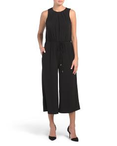 Pleated Neck Flared Jumpsuit