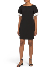 Made In Usa Petite Ruffle Sleeve Shift Dress