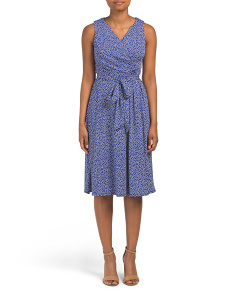 Petite Faux Wrap Polka Dot Dress