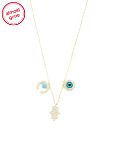 Made In Turkey Sterling Silver Evil Eye Hamsa Charm Necklace