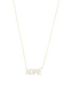 Made In Turkey Sterling Silver Hope Cz Necklace