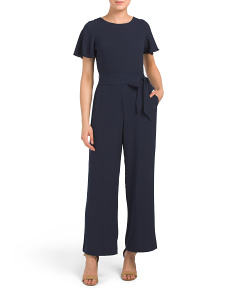 Short Sleeve Textured Jumpsuit