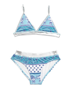 Girls Patterned Two-piece Swimsuit