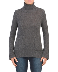 Chunky Rib Cashmere Turtleneck Sweater