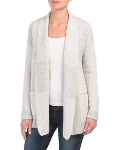 Plaited Shaker Stitch Open Cashmere Cardigan