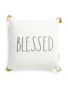 20x20 Blessed Pillow With Tassels