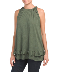 Sleeveless Tank With Ruffle Hem