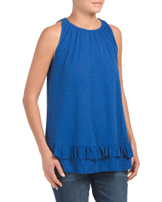 Sleeveless Boat Neck Tank With Ruffle Hem