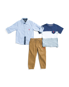 Little Boys 3pc Woven Shirt Tee And Pant Set
