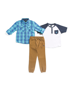 Little Boys 3pc Woven Shirt Tee And Pants Set