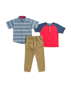 Little Boys 3pc Woven Top Tee And Pant Set