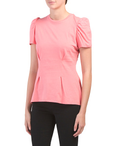 Peplum Knit Tee With Puff Sleeves
