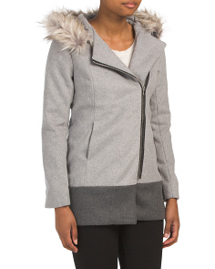 Juniors Wool Blend Coat With Faux Fur Hood