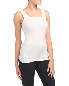 Ribbed Square Neck Tank Top