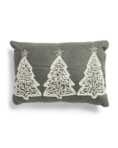 14x20 Wool Blend 3 Tree Embroidered Cushion