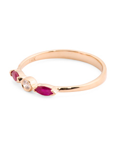 14k Gold Diamond And Ruby Stacking Ring