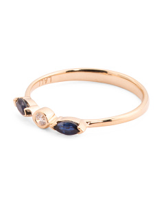 14k Gold Diamond And Sapphire Stacking Ring