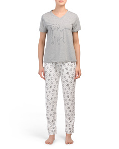 2pc V Neck Top And Pant Pj Set