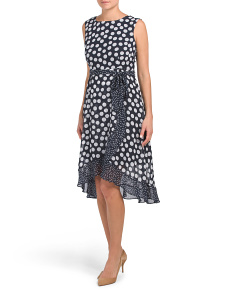 Petite Polka Dot Chiffon Dress With Tie Waist