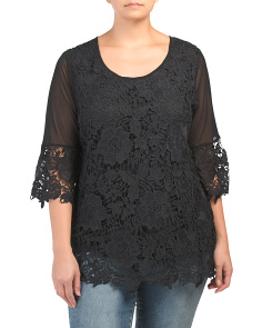 Plus Three-quarter Sleeve Crochet Top