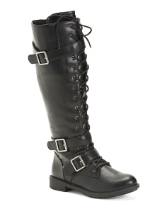 Lace Up Tall Combat Boots